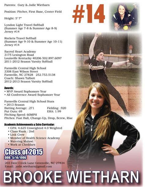 Softball Resume Sports Resumes Recruiting Flyers Pinterest Lacrosse Softball Player Resume Template