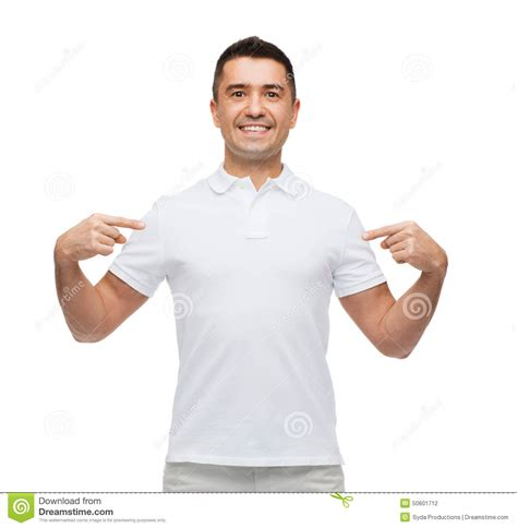 Himself On smiling in t shirt pointing fingers on himself stock photo image 50601712