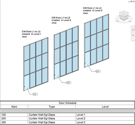 revit door in curtain wall revit curtain wall doors scheduling host level heads up