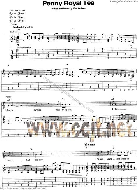 guitar tutorial nirvana pennyroyal tea by nirvana free guitar sheet music tabs
