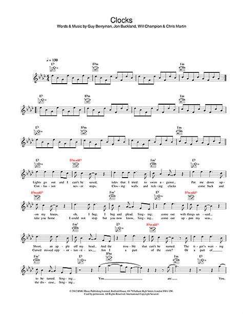 coldplay clocks chords clocks chords by coldplay melody line lyrics chords