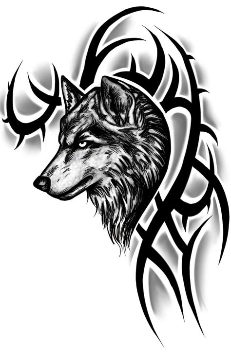 crazy tribal tattoos black tribal and wolf design