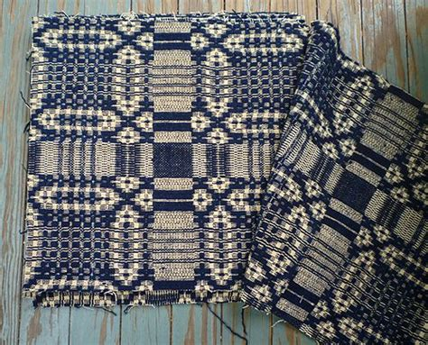 antique woven coverlets antique indigo cream wool jacquard woven 7 coverlet cuts