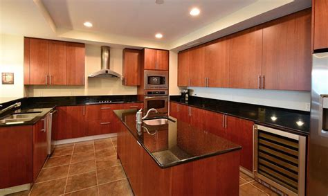 Black Granite Countertops With Cherry Cabinets Cherry Kitchen Cabinets