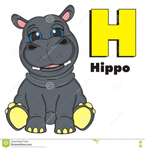 4 Letter Words Hippo hippo with letter h and word hippo stock illustration