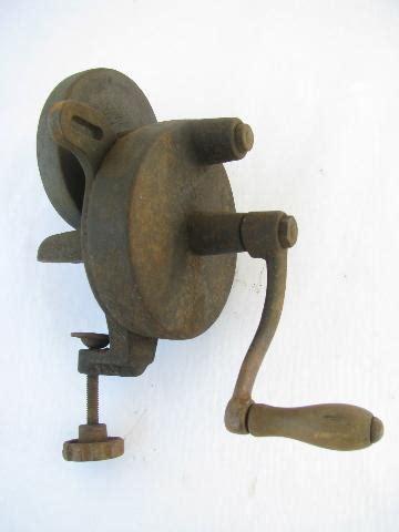 primitive antique farm tool hand grinder  sharpening