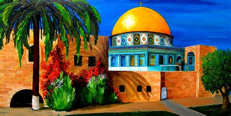 Home Interior Framed Art mosque dome of the rock painting by patricia awapara