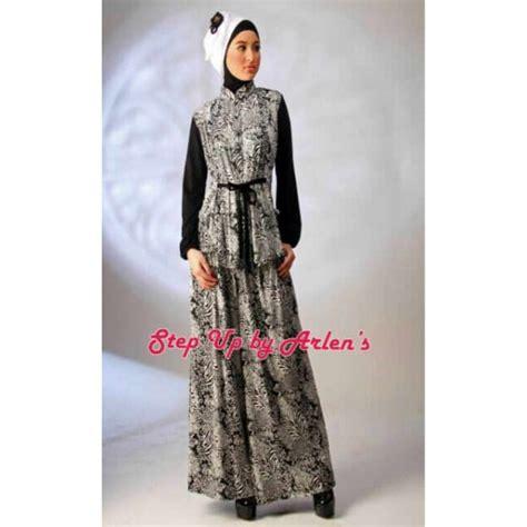 T5807 Gamis Trisha Salem striponiz hitam baju muslim gamis modern