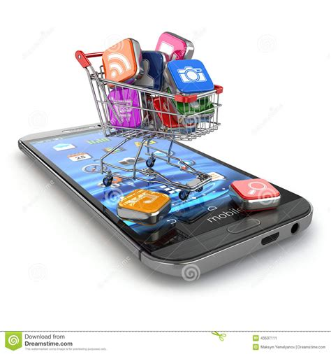 Smart Phone Smart Shopping by Store Of Mobile Software Smartphone Apps Icons In