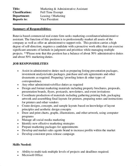 sle marketing assistant description 10 exles in pdf word