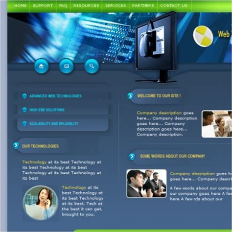 templates for technology website web technologies template free website templates in css
