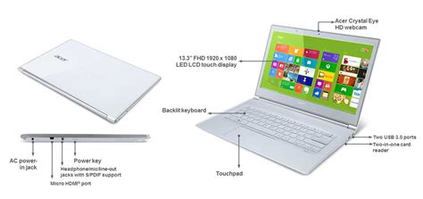 Laptop Acer Slim Aspire S7 391 acer aspire s7 391 13 3 inch ultrabook white intel i5 3317u 1 7ghz 4gb ram 128gb ssd