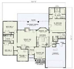 Split Bedroom Floor Plans Style Split Bedroom House Plan 5900nd 1st Floor Master Suite Cad Available Country