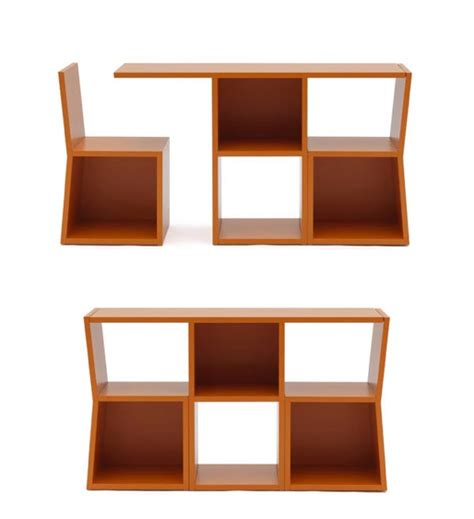 console table with 2 chairs quot trick quot is a bookcase which transforms into a console