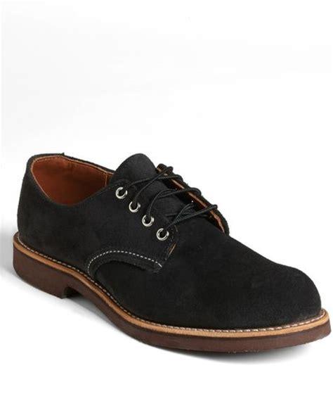 wing suede buck shoe in black for black abilene