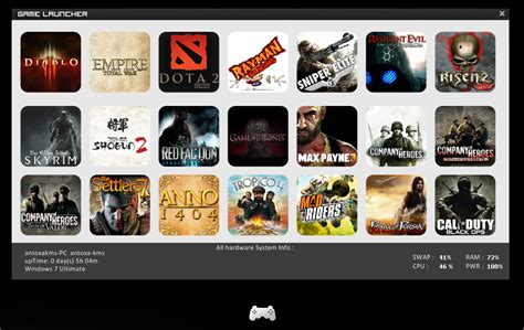 games themes for windows game launcher rainmeter theme for windows 7