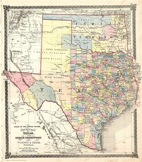 texas indian territory map 1872 texas counties and indian territory map