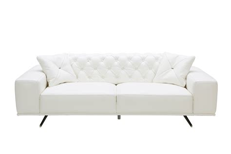 white leather settee divani casa bartlett modern white leather sofa