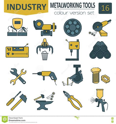 metal work layout tools metal working tools icon set thin line design stock
