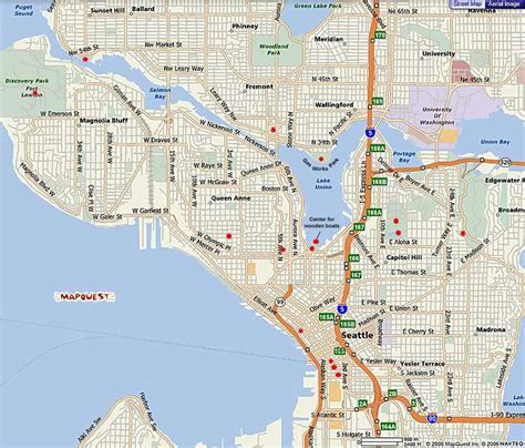 map of seattle area seattle map free printable maps