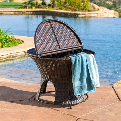 Outdoor Wicker Storage Ottoman Alexandria Wicker Outdoor Storage Ottoman Table Contemporary Outdoor Footstools And Ottomans