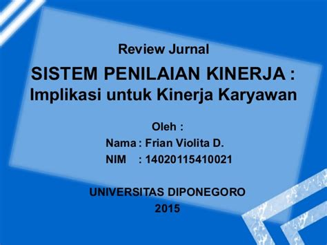 parameter penilaian kinerja jurnal sistem penilaian kinerja