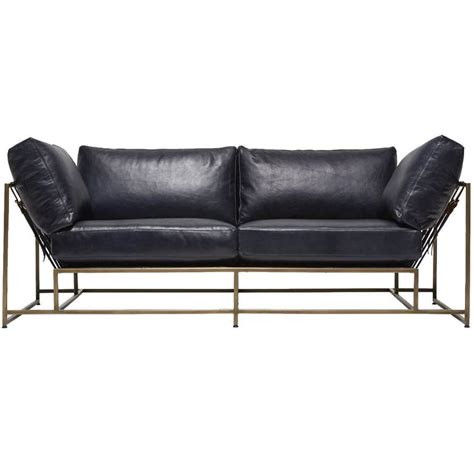 Indigo Sofa by Indigo Leather And Antique Brass Two Seat Sofa For Sale At
