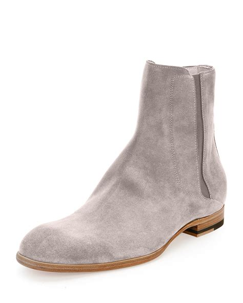 grey chelsea boots mens maison margiela suede chelsea boot in gray lyst