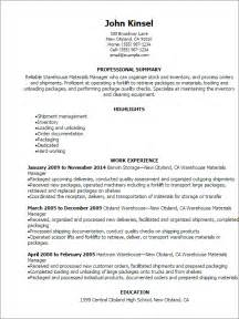 Professional Warehouse Materials Manager Resume Templates