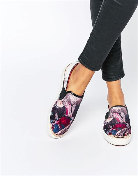 ted baker laulei floral print slip on trainers in white lyst