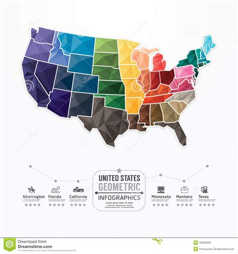 us map graphic united states map infographic template geometric concept