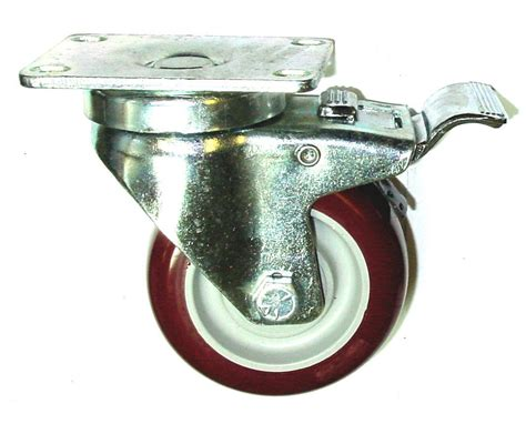 Rigi Maroon set 4 plate casters with 4 quot maroon polyurethane wheels 2 rigid 2 swivel w brake ebay