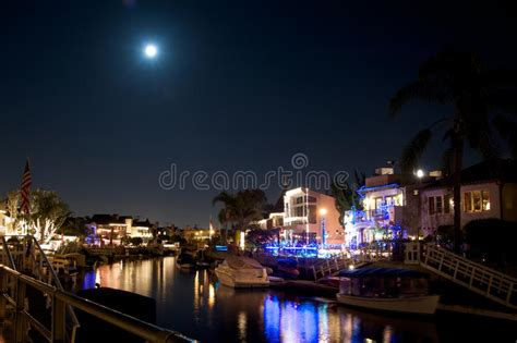 Naples California Canal During Christmas Royalty Free Naples California Lights