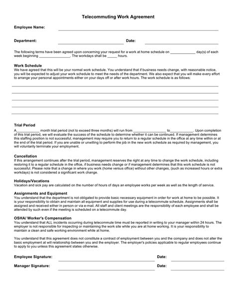 telework agreement template telecommuting agreement template 28 images sle agency