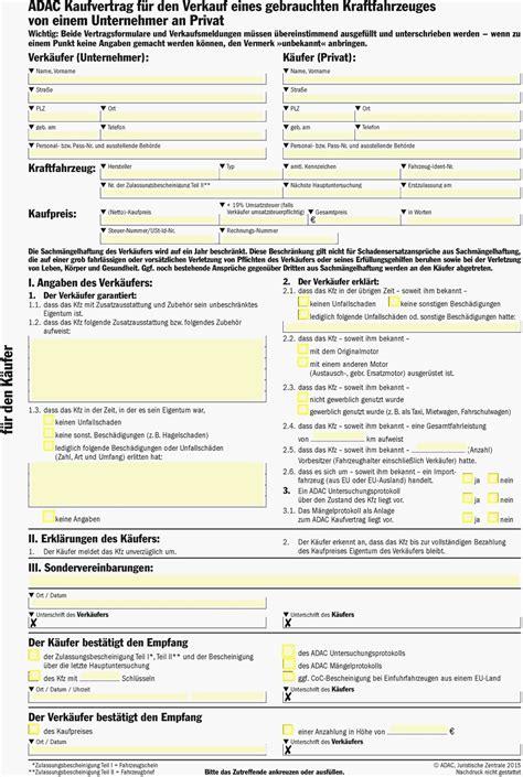 Kaufvertrag Auto Privat An Gewerblich by Kfz Kaufvertrag Privat Adac Auto Verkaufen Vorlage H 252 Bsch