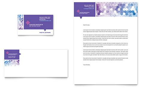 Cancer Research Letterhead Cancer Treatment Business Card Letterhead Template