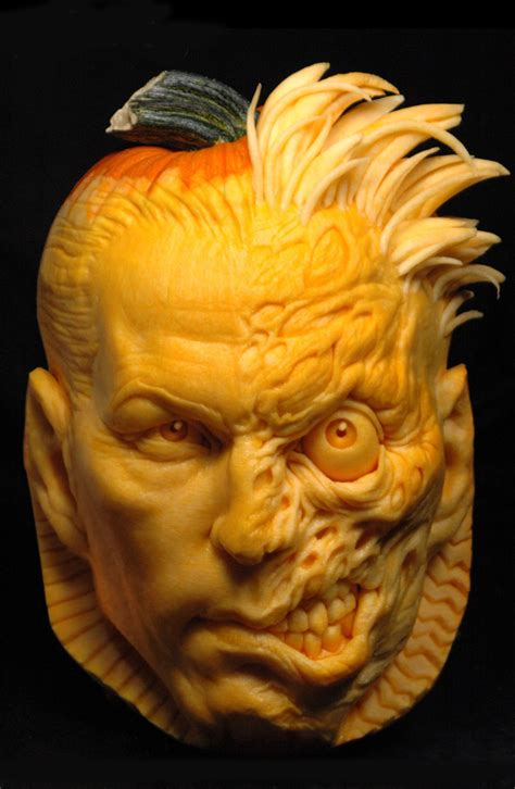 pumpkins carvings fashion and joker two carved pumpkins the