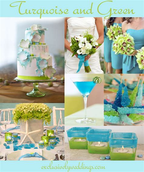green wedding colors turquoise wedding color seven combinations