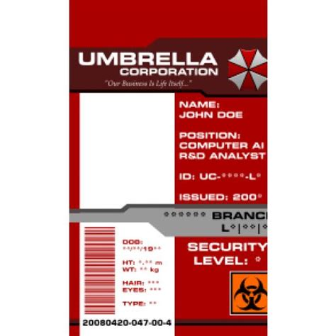 umbrella corporation id card template umbrella corporation id card access pass from the identity