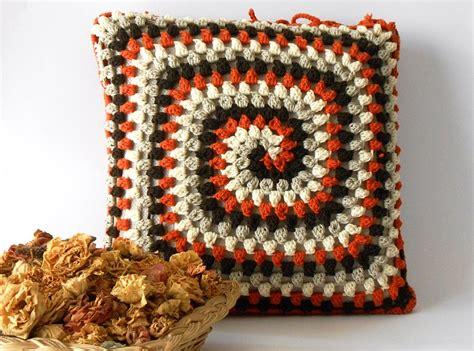 Crochet pillow cover merino wool crocheted cushion pillow