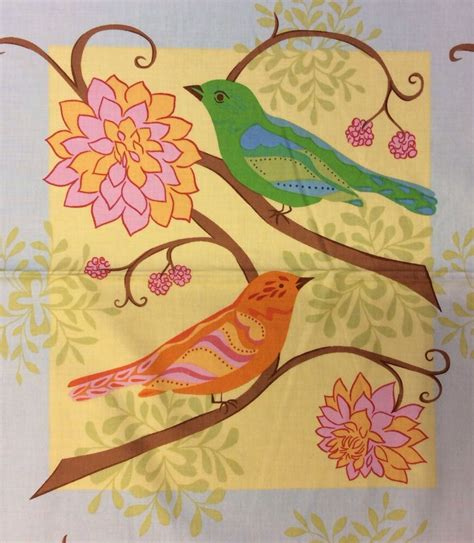 pnl85 colorful birds flowers blocks whimsical cotton quilt fabric panel ebay