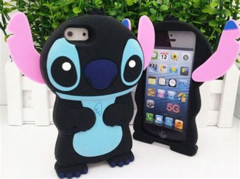Casing Iphone 55s Stitch Silicon disney 3d stitch protective silicone cover for new iphone 5 black