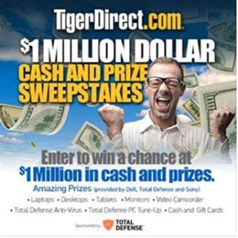 Tigerdirect Sweepstakes - tigerdirect s 1 million cash and prizes sweepstakes win a dell laptop or other