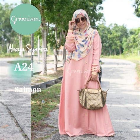 Gamis Wanita Muslim Cantik Busui Murah gamis greenism abaya syakira a24 salmon baju muslim