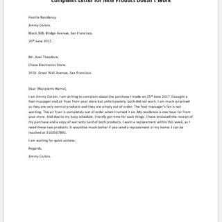 Complaint Letter Of Faulty Product complaint letter for new faulty product writeletter2