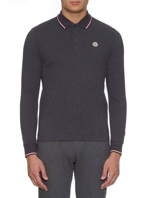 Sleeve Polo lyst moncler sleeved cotton piqu 233 polo shirt in