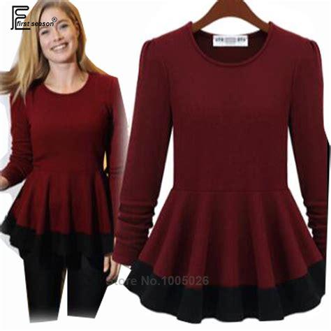 Two Tone Basic Peplum Best Seller 2016 sale european style fashion autumn winter slim basic shirts ruffles
