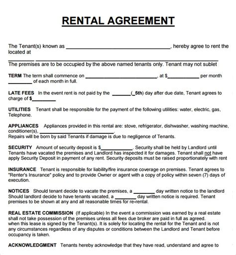 rental agreement template 20 rental agreement templates word excel pdf formats