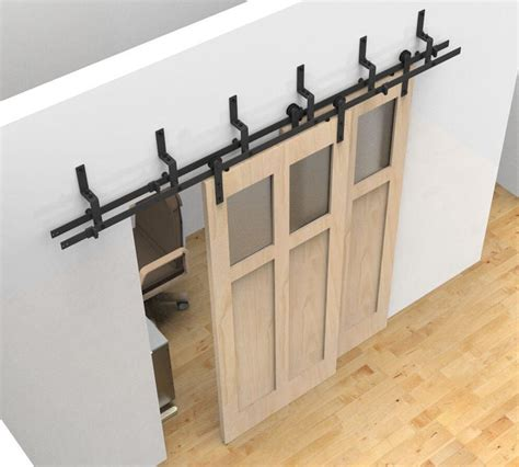 Barn Door On Track Details About Bypass Sliding Barn Wood Door Hardware Black