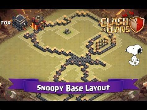 coc layout funny clash of clans th9 th10 fun base layout snoopy